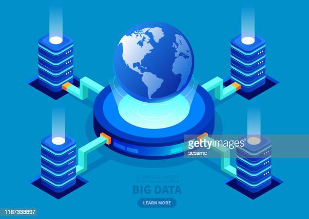 global big data network server. - big data world stock illustrations