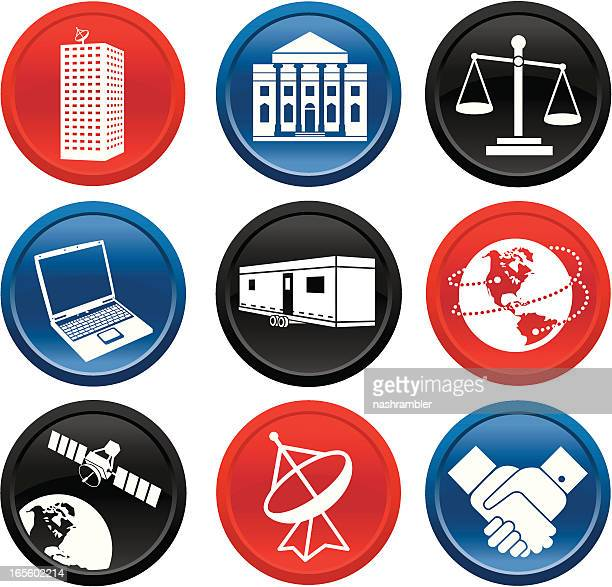 Negócios internacionais e botão de comunicações de série