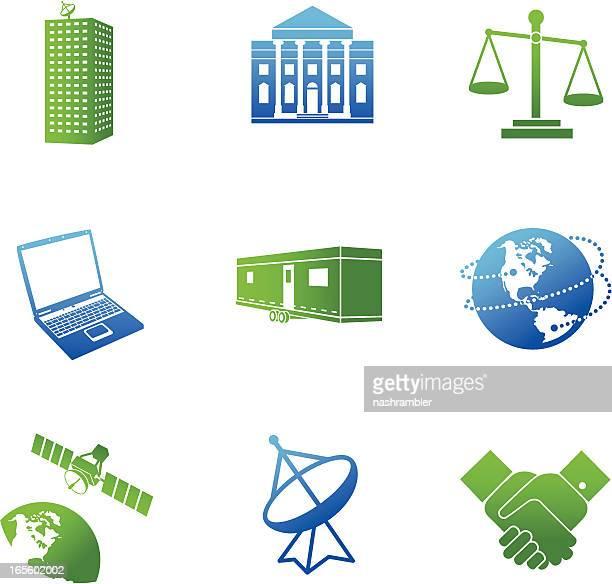 Global de comunicações empresariais azul e verde série