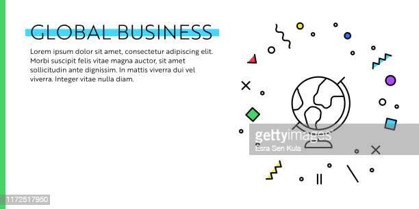 illustrazioni stock, clip art, cartoni animati e icone di tendenza di global business concept. geometric retro and memphis style web banner and poster concept with desktop globe icon. - mappamondo