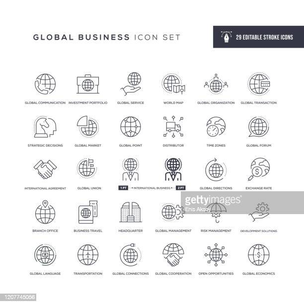 global business editable stroke line icons - globale kommunikation stock-grafiken, -clipart, -cartoons und -symbole