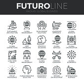 Global Business Futuro Line Icons Set