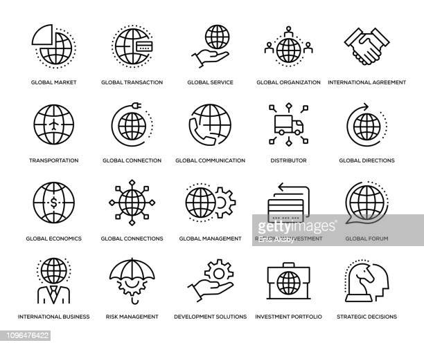 global business-icon-set - globale kommunikation stock-grafiken, -clipart, -cartoons und -symbole
