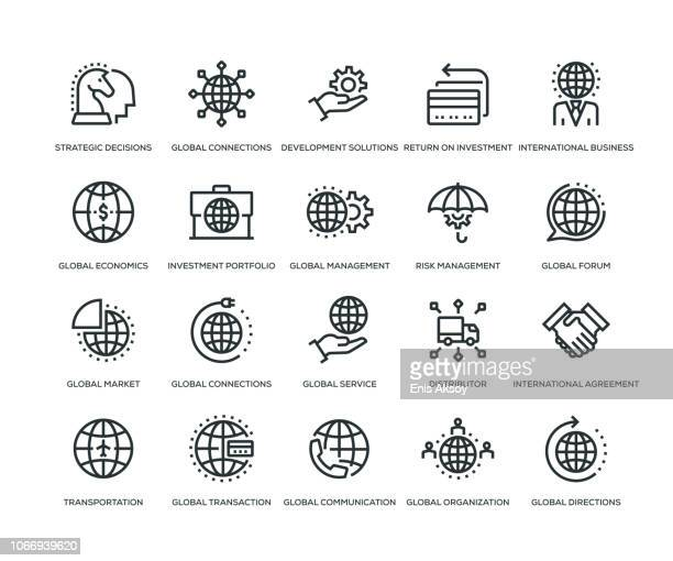 global business icons - line series - global stock illustrations