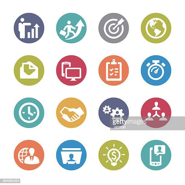 global business icons set - circle series - filing documents stock illustrations, clip art, cartoons, & icons