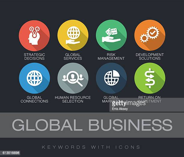 global business keywords with icons - long shadow design stock illustrations