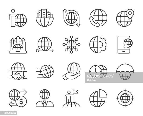 stockillustraties, clipart, cartoons en iconen met wereldwijde business-light line iconen - stadsdeel