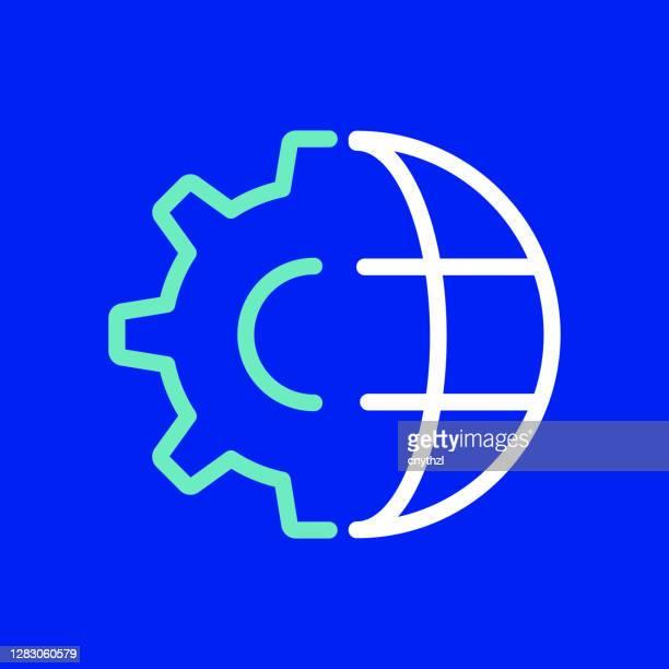 stockillustraties, clipart, cartoons en iconen met global business line-pictogram. bewerkbare lijn. eenvoudige overzichtspictogrammen. - giganten van het internet