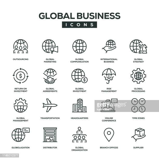 global business line icon set - headquarters stock illustrations