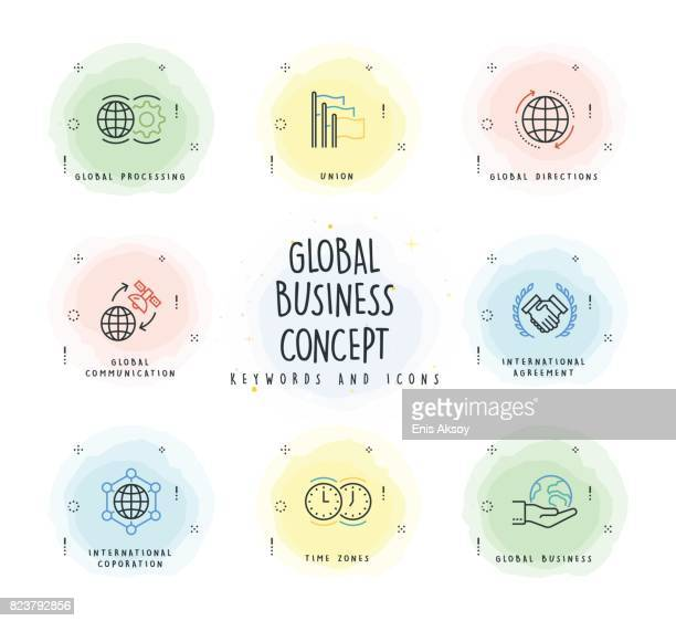 Global Business Line Icon Set with Watercolor Patch