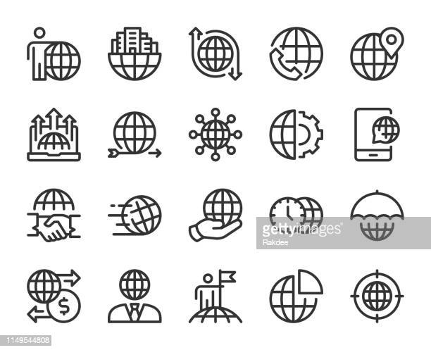 global business-line icons - globale kommunikation stock-grafiken, -clipart, -cartoons und -symbole