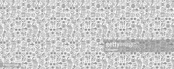 global business seamless pattern and background with line icons - financial technology stock illustrations