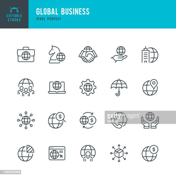 global business - thin line vector icon set. pixel perfect. editable stroke. the set contains icons: global business, partnership, headquarters, business strategy, logistic, worldwide payments. - global business stock illustrations