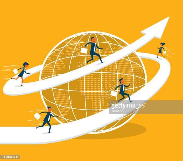 illustrazioni stock, clip art, cartoni animati e icone di tendenza di business globale - mondo beat