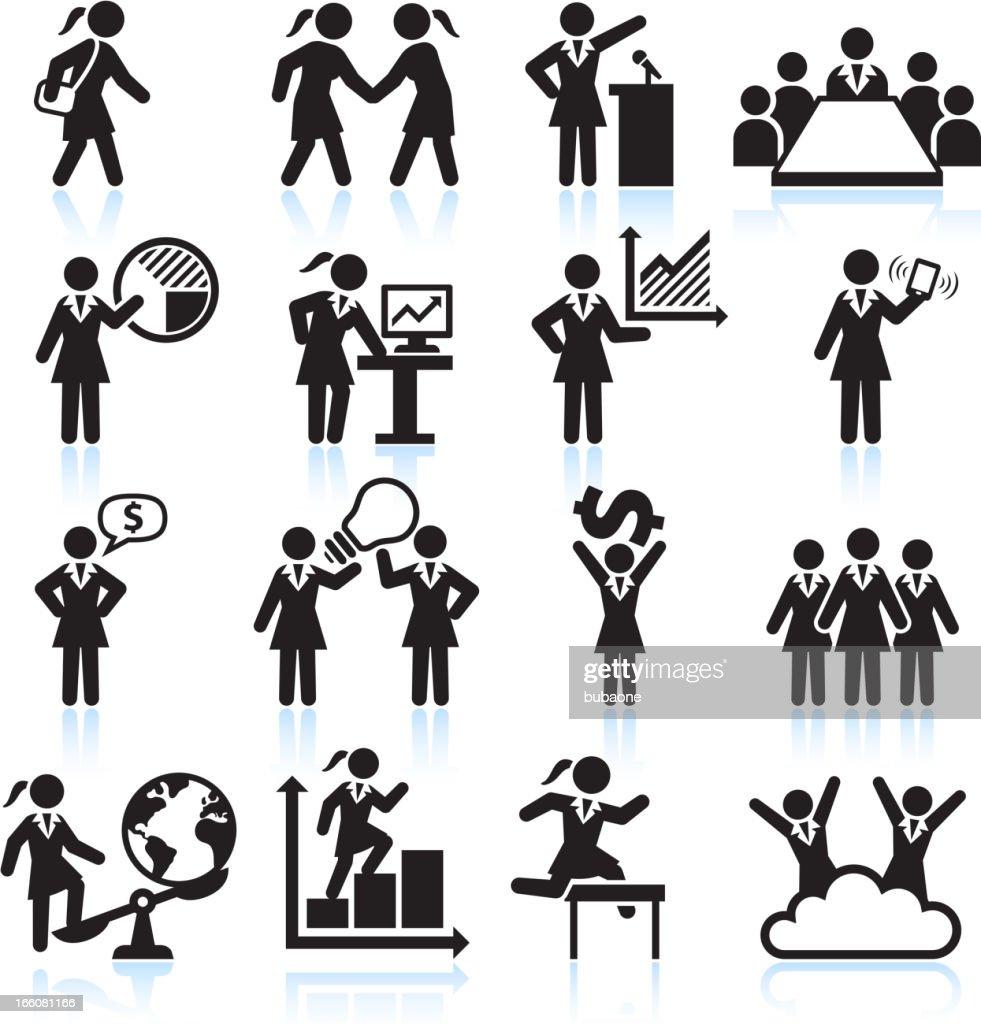 Global Businesswoman Team Presentation black and white vector icon set