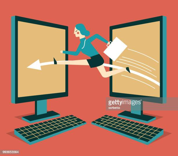 global communications - businesswoman - long jump stock illustrations