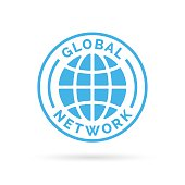 Global company network icon with blue globe stamp symbol