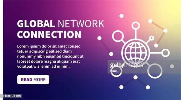 globales verbindungsbanner auf holographischem farbverlaufshintergrund - internationale geschäftswelt stock-grafiken, -clipart, -cartoons und -symbole