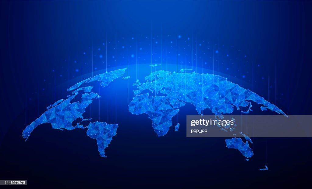 Global curved Plexus World Map-Earth Planet Vector Illustration : Stock-Illustration