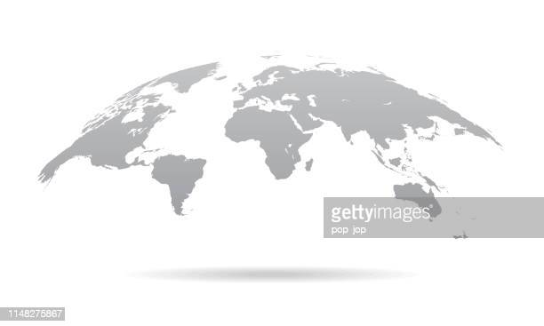 global curved world map - earth planet vector illustration - globe navigational equipment stock illustrations