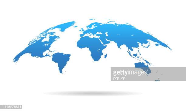 global curved world map - earth planet vector illustration - planet earth stock illustrations