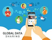 Global data sharing concept illustration