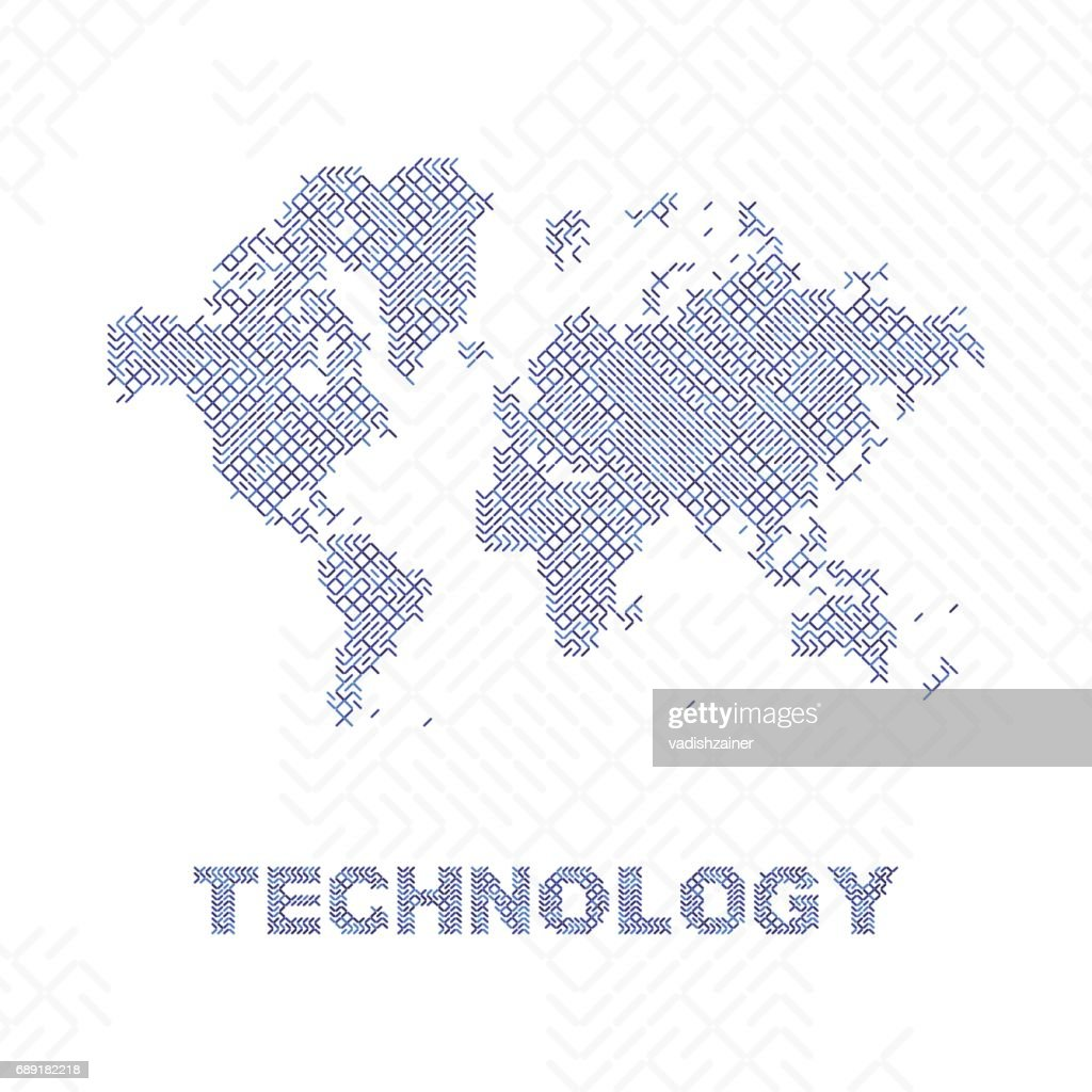 Global digital communications abstract world map flat vector global digital communications abstract world map flat vector illustration eps 10 vector art gumiabroncs Image collections