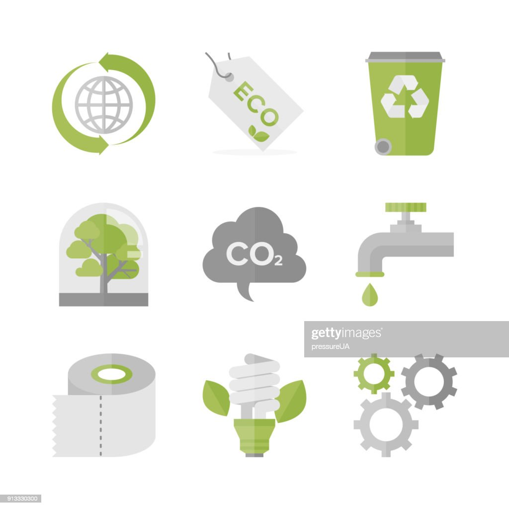 Global ecology and nature conservation flat icons set