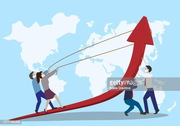 stockillustraties, clipart, cartoons en iconen met wereldwijde economische crisis. business team op zoek naar investeringen kansen. bedrijfsconcept. - hindernissen overkomen