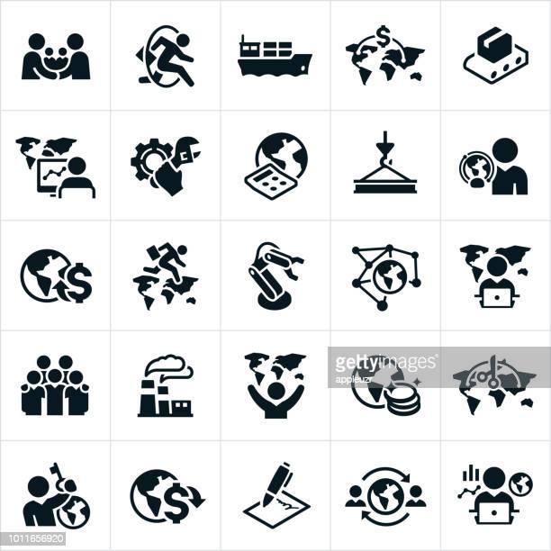 illustrazioni stock, clip art, cartoni animati e icone di tendenza di icone dell'economia globale - economia