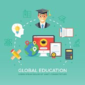 Global education. Flat graphic elements, icons set. Modern vector illustration