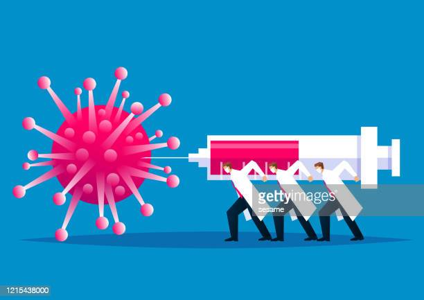 global fight against plague, medical and scientific staff fight new coronavirus pneumonia, a group of businessmen carrying huge syringes to inject new coronavirus - injecting stock illustrations