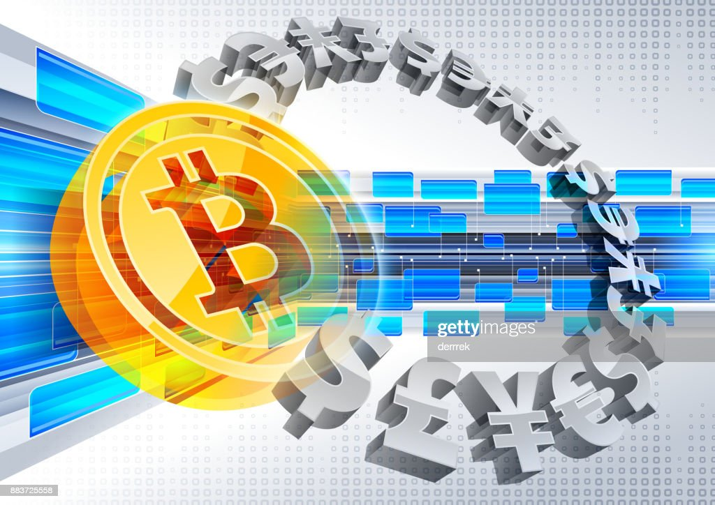 Global finance bitcoin : stock illustration