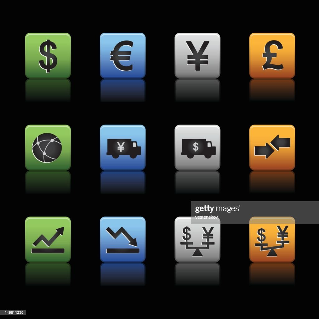 Global finance trading currency icons : stock illustration