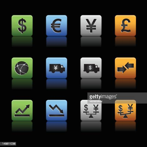 Global finance trading currency icons