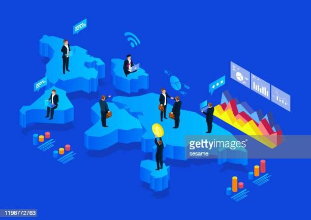globale zusammenarbeit und entwicklung des austauschs von finanzhandelsbörsen - internationale geschäftswelt stock-grafiken, -clipart, -cartoons und -symbole