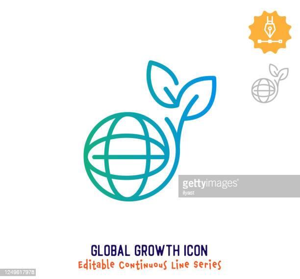 illustrazioni stock, clip art, cartoni animati e icone di tendenza di global growth continuous line editable icon - questioni ambientali