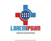 Global Hospital Template Design Vector, Emblem, Design Concept, Creative Symbol, Icon