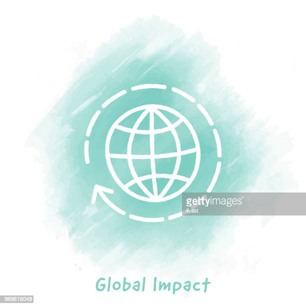 Global Impact Doodle Watercolor Background
