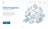 Global logistic service modern isometric line illustration. Export, import, warehouse business, transport sketch drawn icons. Box storage, distribution, cargo delivery concept.
