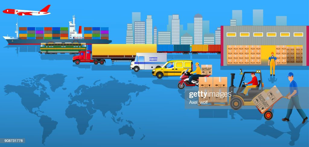 Global logistics network. Flat vector illustration. Cargo delivery