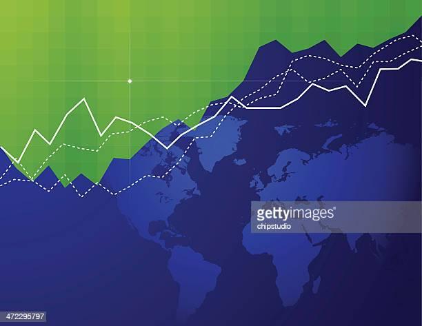 global market - liniendiagramm stock-grafiken, -clipart, -cartoons und -symbole