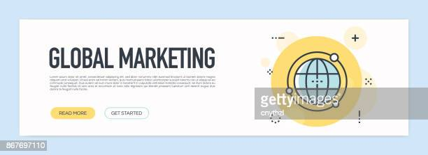 Global Marketing Concept - Flat Line Web Banner