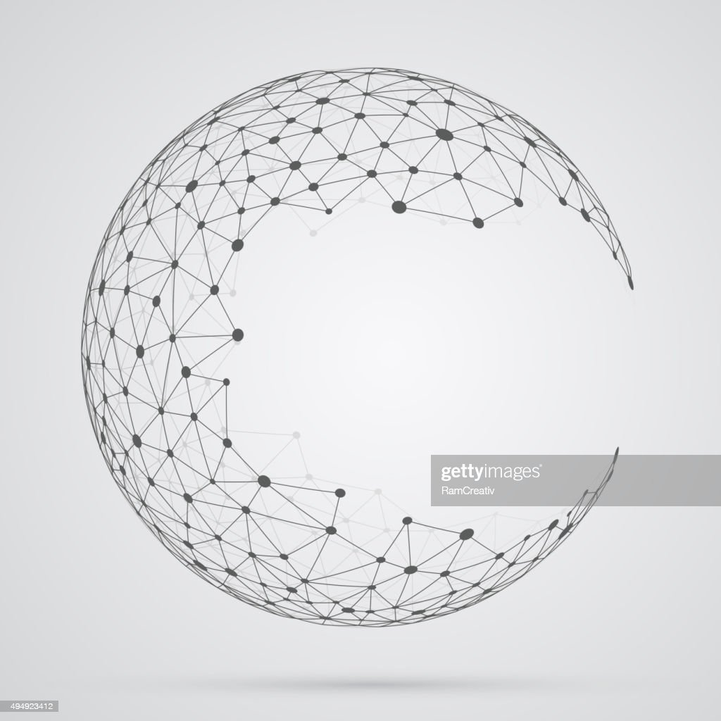 Global mesh sphere. Abstract geometric shape with spherical seve
