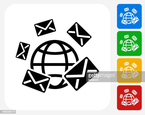 Global Messaging Icon Flat Graphic Design
