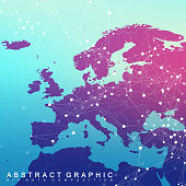 Global network connection with Europe Map. Network and big data visualization background. Global business. Vector Illustration