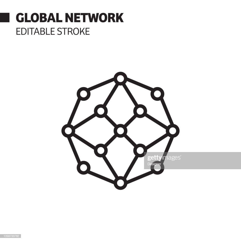 Icona linea di rete globale, illustrazione del simbolo vettoriale del contorno. Pixel Perfetto, Tratto modificabile. : Illustrazione stock