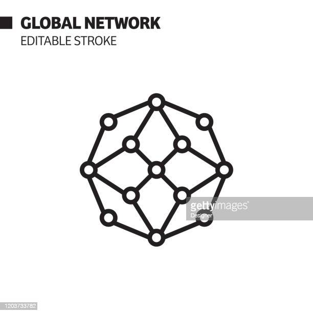 global network line icon, outline vector symbol illustration. pixel perfect, editable stroke. - computer network stock illustrations