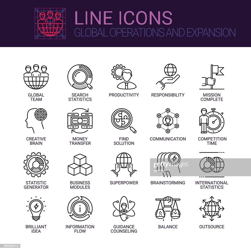Global Operations and Expansion icons set