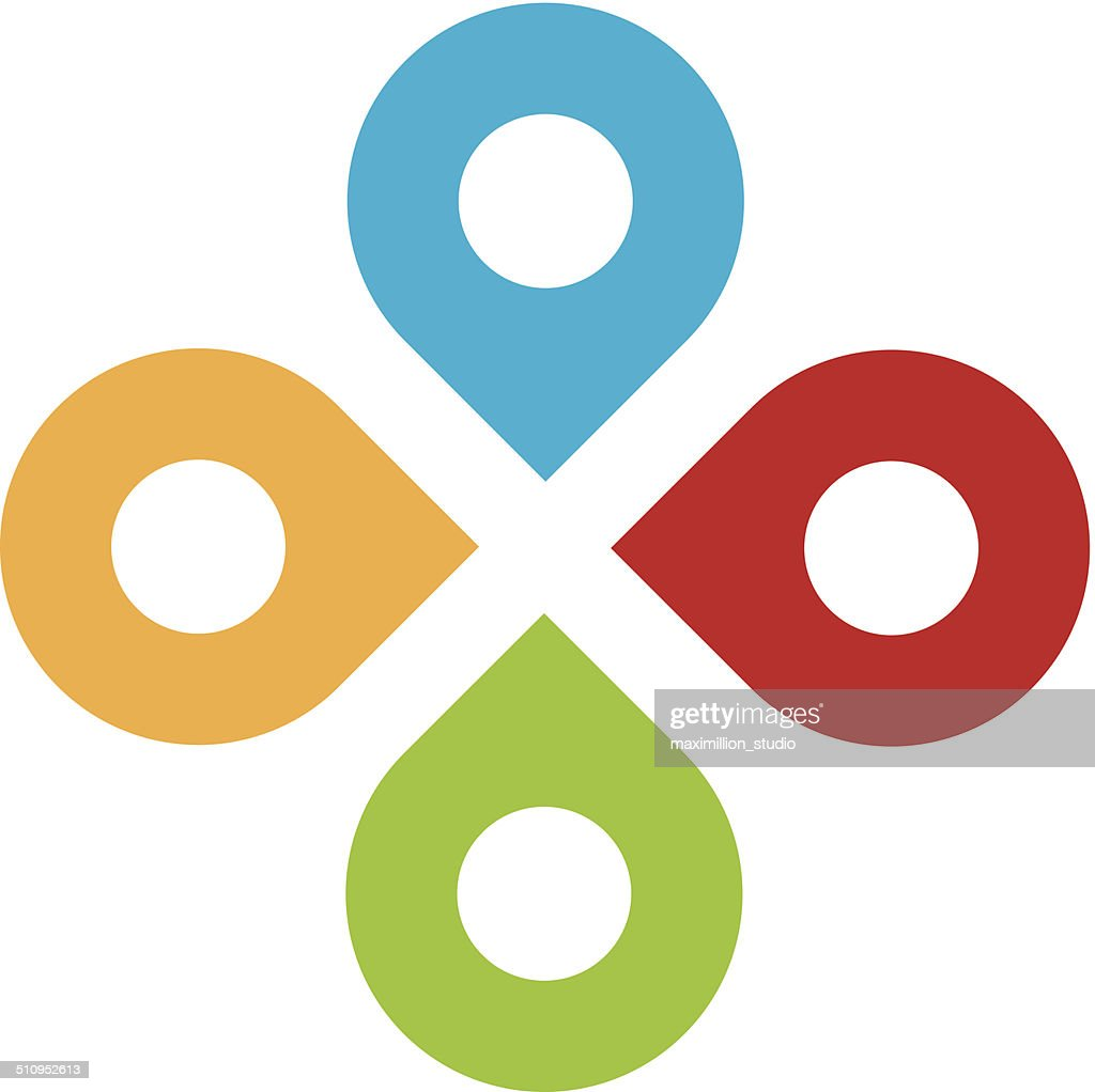 Global partnership positioning system network logo icon set
